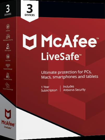 McAfee LiveSafe 3 device box shot.
