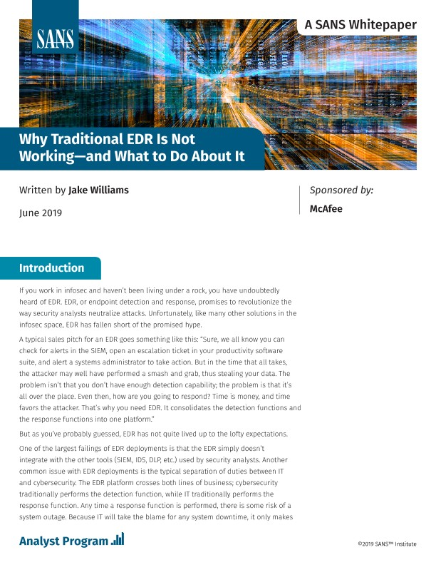 SANS: Why Traditional EDR Is Not Working