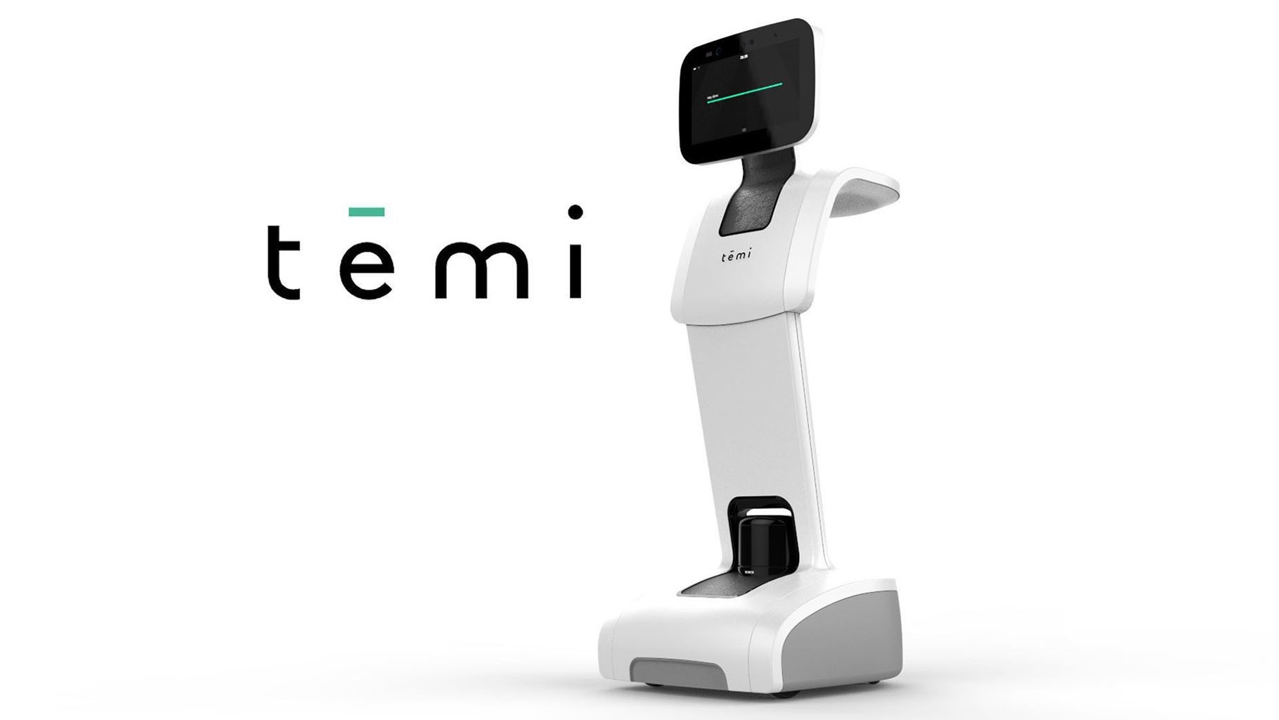 The word 'temi' next to a large, white, non-humanoid robot with wheels and a tablet on top.