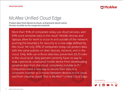 McAfee Unified Cloud Edge Solution Brief