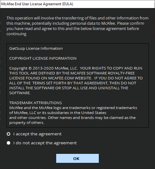 License Agreement screenshott