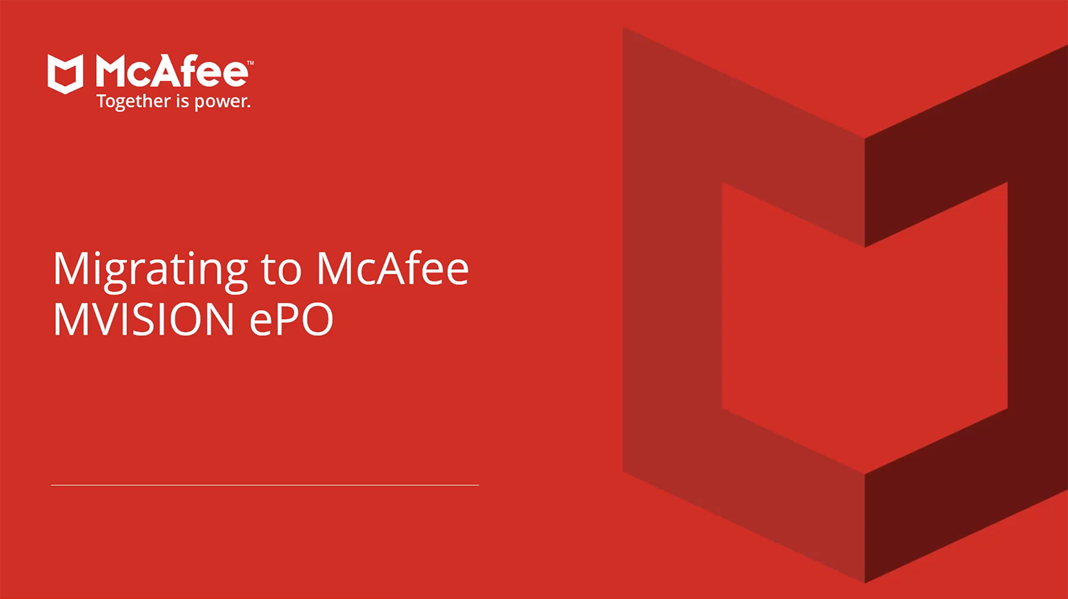Migrating to McAfee MVISION ePO