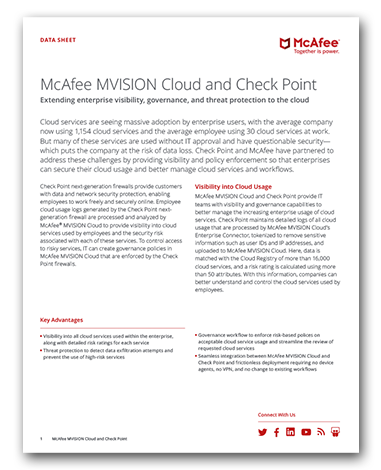 McAfee MVISION Cloud and Check Point