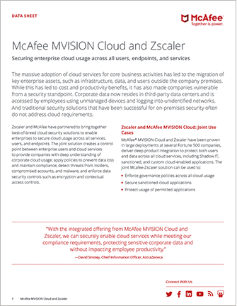 McAfee MVISION Cloud and Zscaler