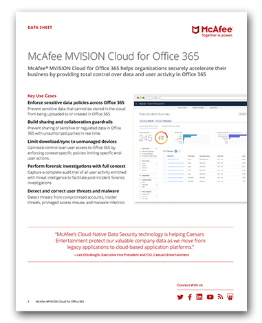 McAfee MVISION Cloud for Office 365
