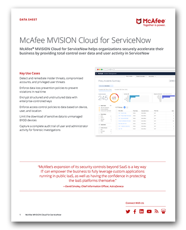 McAfee MVISION Cloud for ServiceNow
