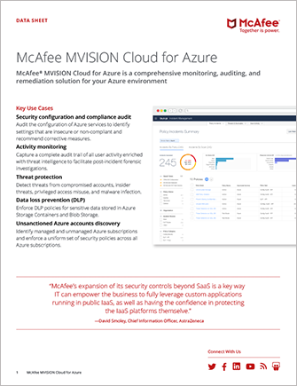 McAfee MVISION Cloud for Azure
