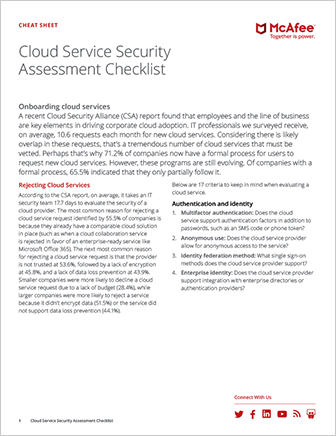 Cloud Service Security Assessment Checklist