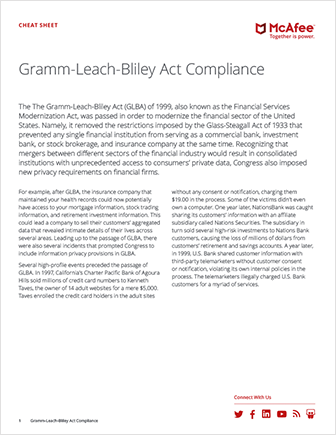 GLBA Compliance Cheat Sheet