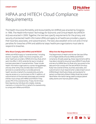 HIPAA and HITECH Cloud Compliance Cheat Sheet