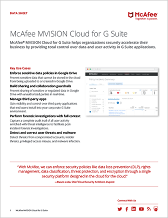 McAfee MVISION Cloud for G Suite