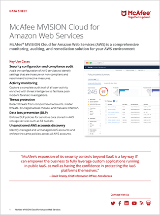 McAfee MVISION Cloud for Amazon Web Services Data Sheet
