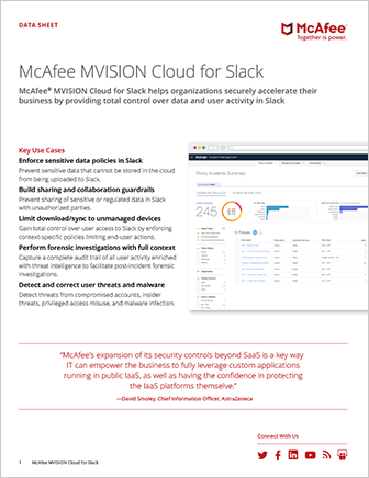 McAfee MVISION Cloud for Slack