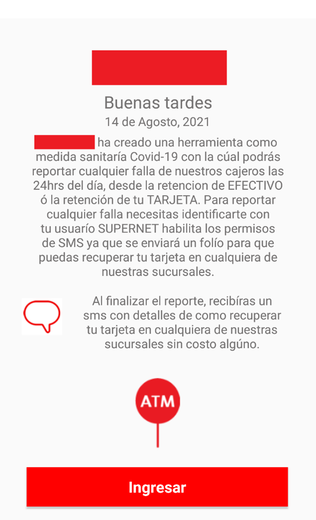 Figure 3- Malicious app introduction of ATM reporting variant that uses the Covid-19 pandemic as pretext to lure users into provide their bank credentials