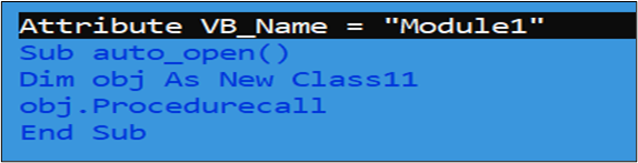 Figure 6.VBA Code snippet with auto_open() event